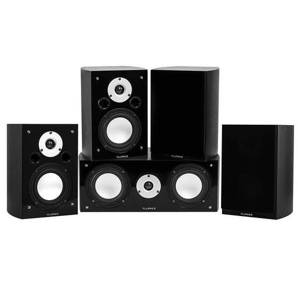 Fluance Reference Series Compact Surround Sound Home Theater 5.0 Channel System - Black Ash (XL50BC)