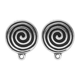 TierraCast Silver Plated Pewter Spiral Clip On Earrings 17mm (1 Pair)