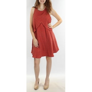 FREE PEOPLE $128 Womens New 1269 Orange Speckle Scoop Neck Shift Dress XS B+B