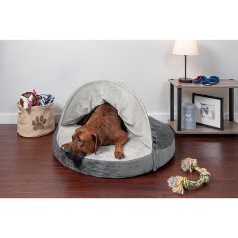 FurHaven Pet Bed Microvelvet Snuggery Memory Top Foam Burrow Dog Bed