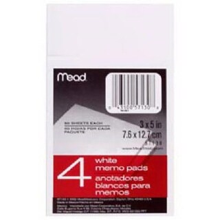 Mead 57130 3.05 x 5.05 in. 4 Pack White Memo Pads - 50 Count