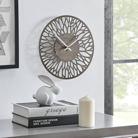FirsTime & Co. Taupe Dahlia Indoor Outdoor Clock, Metal