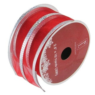 """Pack of 12 Dazzling Red and Silver Metallic Stripe Wired Christmas Craft Ribbon Spools - 2.5"""" x 120 Yards Total"""