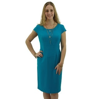 Signature Weaves Women's Aqua Blue Solid Casual Dress
