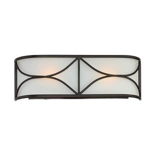 """Designers Fountain 88602-ORB Avara 2 Light 16"""" Wide ADA Compliant Vanity Light with Frosted White Glass Shade - Oil Rubbed Bronz"""