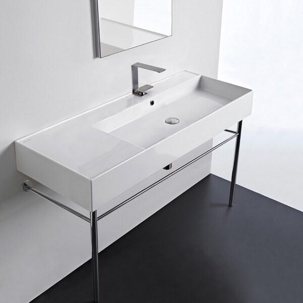 "Nameeks Scarabeo 5122-CON Scarabeo Teorema 2.0 48"" Rectangular Ceramic Console Bathroom Sink with Overflow"