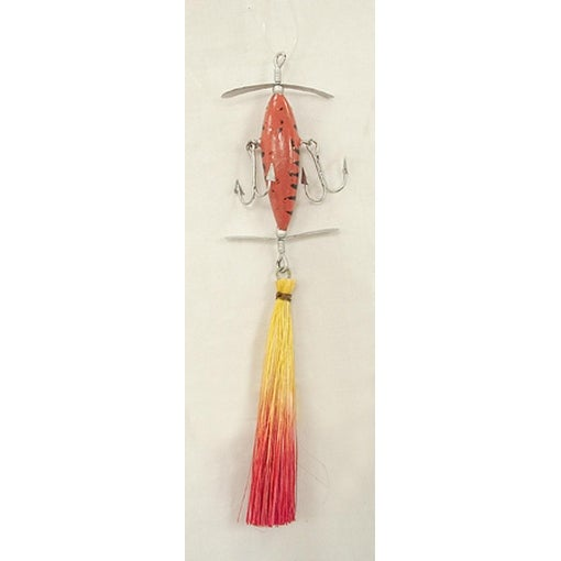 "Red And Yellow Sisal Lure Fishing Christmas Ornament 6.5"" #90075"