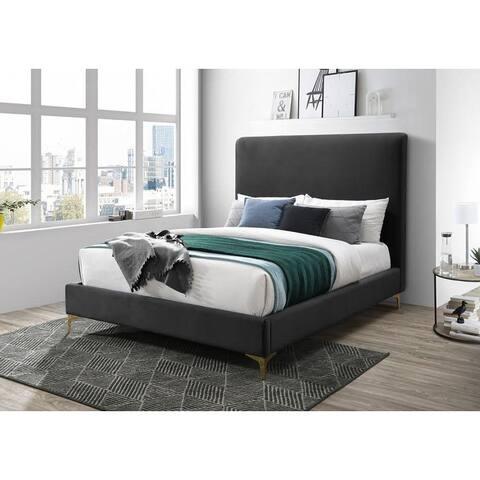 Leopold Velvet Upholstered Headboard Bedframe with Gold Feet (Dark Gray/ Royal Blue)
