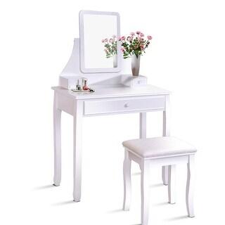 Gymax Bathroom Vanity Dressing Table Set W/ 3 Storage Boxes