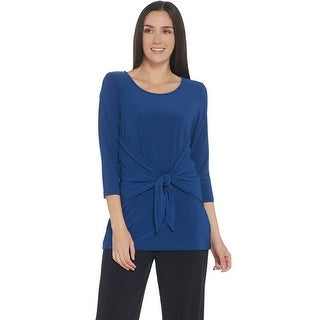 Link to Attitudes by Renee Womens Como Jersey 3/4 Sleeve Tie-Front Top Large A306479 Similar Items in Loungewear