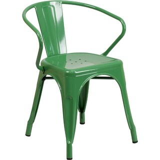 Brimmes Green Metal Chair w/Vertical Slat Back & Arms for Patio/Bar/Restaurant