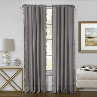 Wallace Sheer Rod Pocket Panel With Pom Poms, 52x84 Inches - 52 x 84