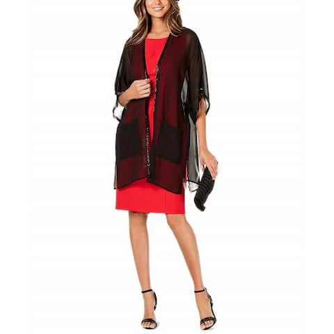 Cejon Women's Bead-a-Way Contemporary Sheer Kimono (Black)