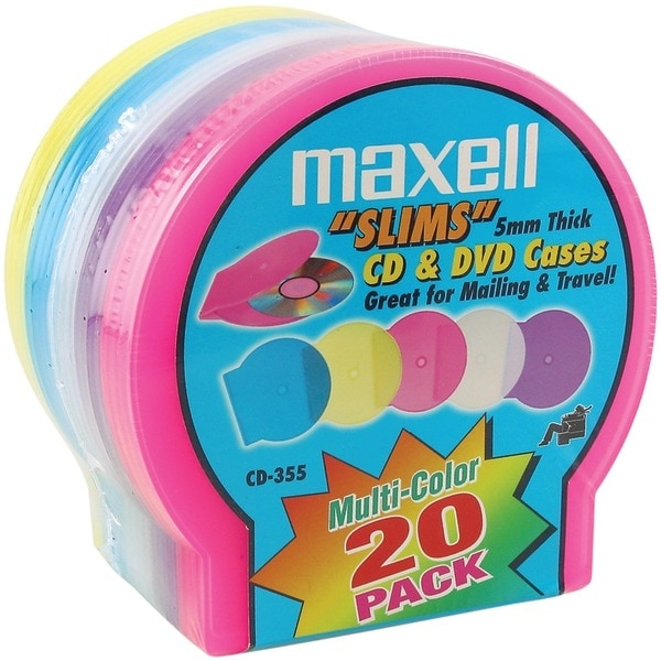 Maxell 190073 Slim Cd/Dvd Jewel Cases, 20 Pk (Assorted Colors)