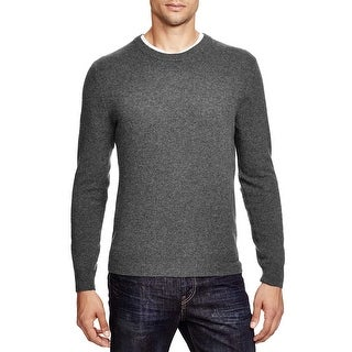 Bloomingdales Mens 2-Ply Cashmere Crewneck Sweater Medium Ash With Elbow Patches