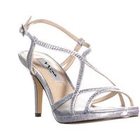 Nina Blossom Slingback Bejeweled Open Toe Sandals, Silver