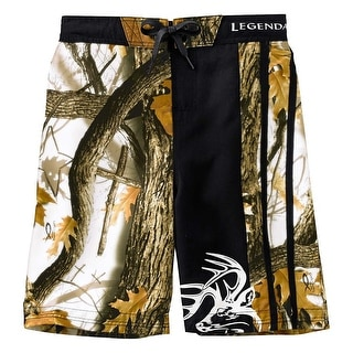 Legendary Whitetails Boys God's Country Camo Lakeside Swim Trunks - Black