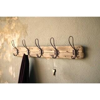 "Rustic 5 Hook Wooden Coat Rack - Wall Mounted - 26"" X 5.5"""