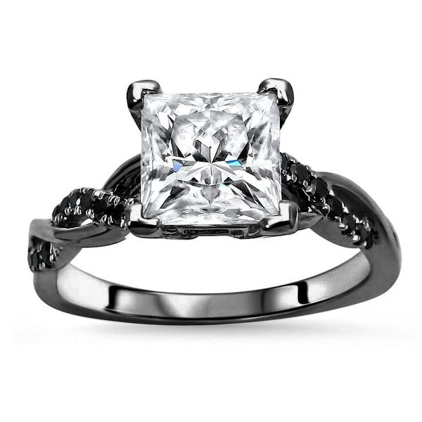 14k Black Gold Plating Over White Gold 1.25ct Princess cut Moissanite & 1/5ct Black Diamond Engagement Ring. Opens flyout.