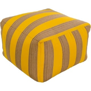 "14"" Banana Yellow and Beige Chic Square Outdoor Patio Pouf Ottoman"