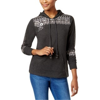 Link to Style & Co. Womens Embroidered Hoodie Sweatshirt, black, Small Similar Items in Loungewear