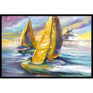 Carolines Treasures JMK1061JMAT Sailboat With Middle Bay Lighthouse Indoor & Outdoor Mat 24 x 36 in.