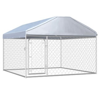 """Link to vidaXL Outdoor Dog Kennel with Roof 78.7""""x78.7""""x53.1"""" Similar Items in Dog Containment"""