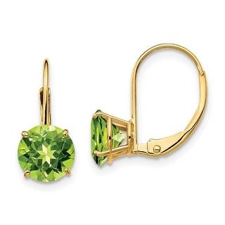 Link to 14K Yellow Gold 7mm Peridot Leverback Earrings by Versil Similar Items in Earrings