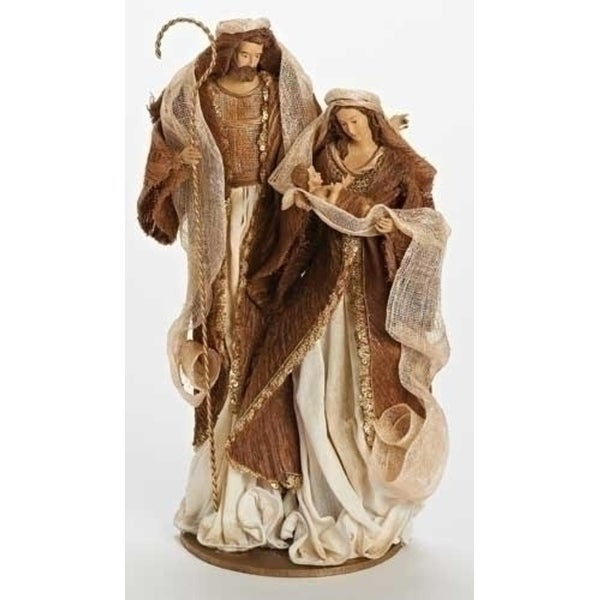 "16.75"" Have Faith Fabric Mache Ivory and Copper Holy Family Christmas Nativity Figure"