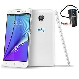 """Indigi New 5"""" Curved 4G LTE SmartPhone Android 6.0 AT&T TMobile + Bluetooth included - White"""