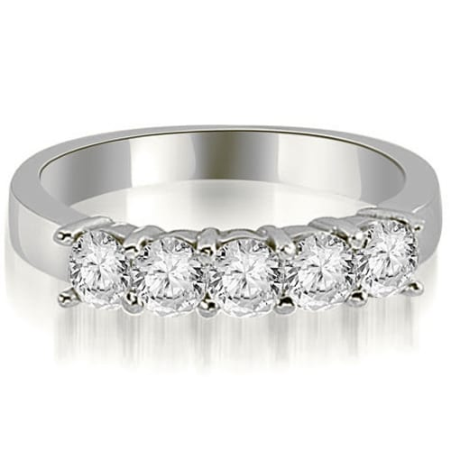 0.75 cttw. 14K White Gold Round Diamond Classic 5-Stone Prong Wedding Band