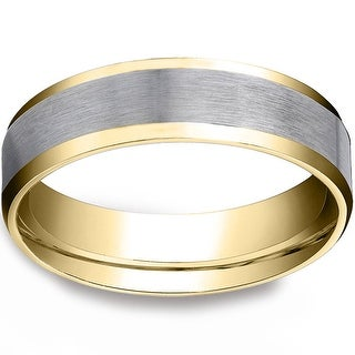 Link to 6mm Two Tone 10k White & Yellow Gold Mens Wedding Band Similar Items in Rings