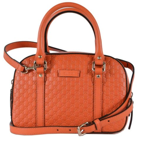 9c2f57a62b6bfc Gucci Women's 510289 Micro GG ORANGE Leather Convertible Satchel Purse