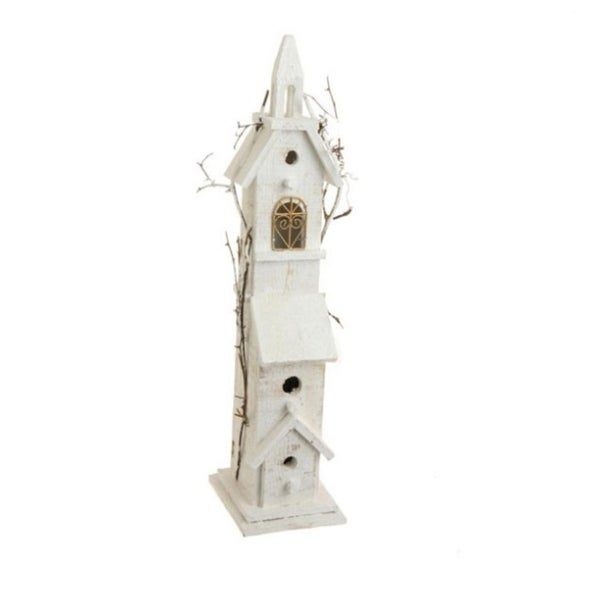 """23.5"""" Whited Lighted Vine Accented Birdhouse Table Top Christmas Decoration - WHITE"""