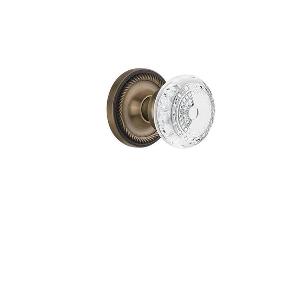 "Nostalgic Warehouse ROPCME_PRV_234_NK Vintage Crystal Meadows Privacy Door Knob Set with Rope Rose and 2-3/4"" Backset"