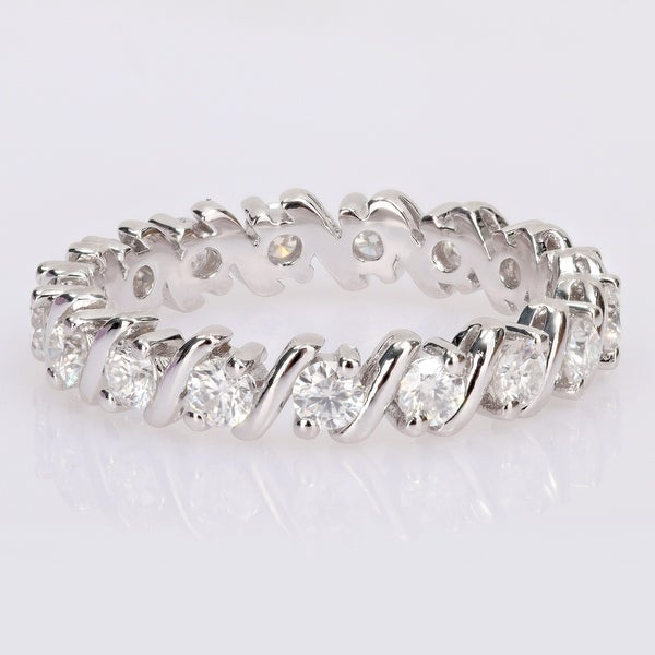 Miadora 1ct DEW Moissanite Full-Eternity Band in Sterling Silver. Opens flyout.