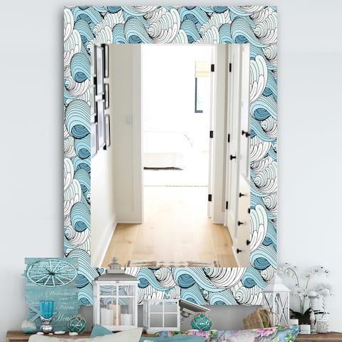 Designart 'Great Wave Inspiration' Traditional Mirror - Vanity Mirror