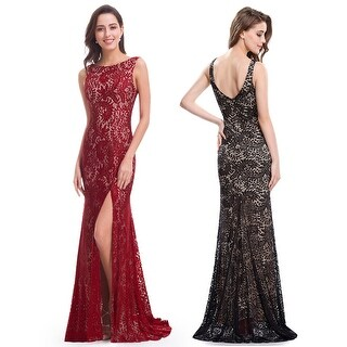 Ever-Pretty Women Sexy V-neck Back and Unique Side Slit Design Evening Party Dress 08859