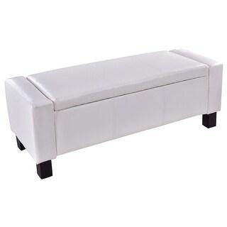 Costway PU Leather Ottoman Bench Storage Chest Footstool Organizer Chair  Furniture White