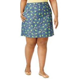 Karen Scott Womens Plus Skort Chambray Lemon Print