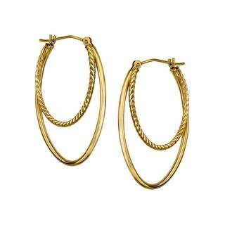 Just Gold Double Oval Hoop Earrings in 14K Gold - YELLOW
