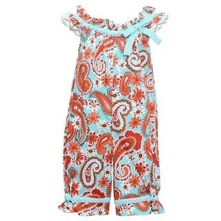 Bonnie Jean Baby Girls Aqua Floral Print Sleeveless Romper