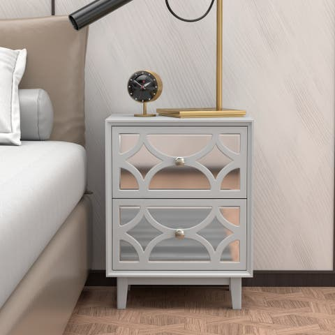 COZAYH Contemporary Mirror Front 2-Drawer Nightstand, Light Grey
