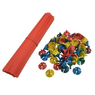 Red Balloon Sticks Multicolored Cups for Celebrations 100 Pcs