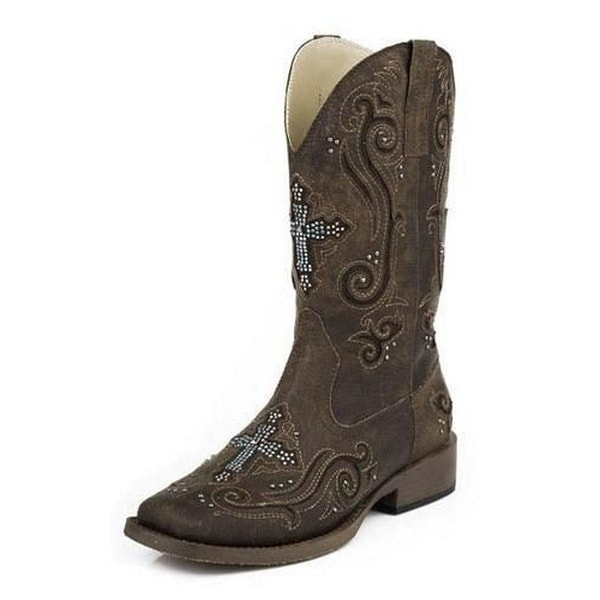 Roper Western Boots Womens Cross Crystal Brown 09-021-1901-0937 BR