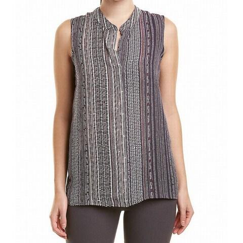 Nic + Zoe Purple Womens Size Large L Crewneck Button Down Shirt