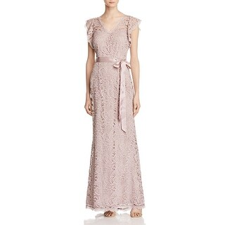 Adrianna Papell Womens Evening Dress Lace Double V Neck