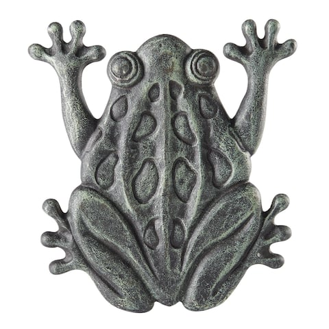 Upper Deck Cast Iron Frog Stepping Stone - Animal Garden and Yard Decor with Verdigris Finish - 10 in. x 11 in. x 1.5 in.