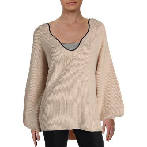 Lush Womens Pullover Sweater V-Neck Oversized