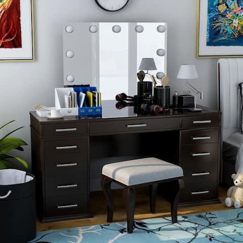 Furniture of America Klau Contemporary Solid Wood Vanity Set